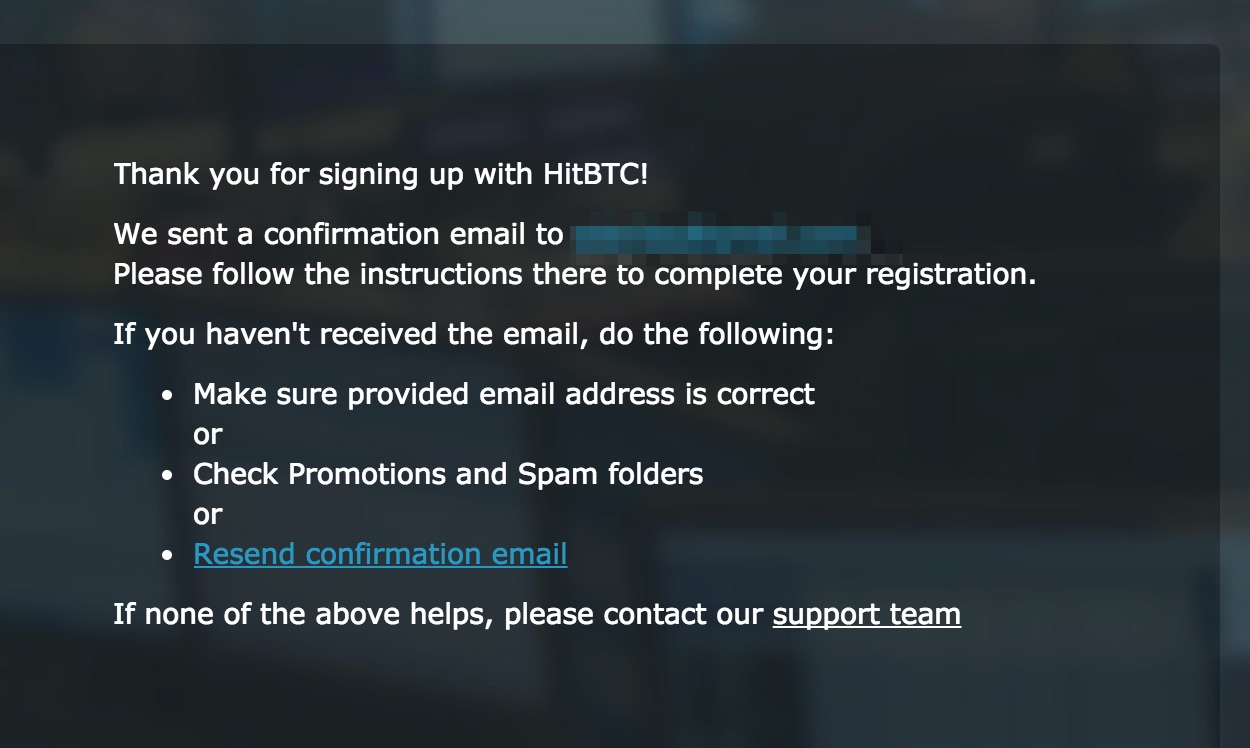Confirm your email HitBTC