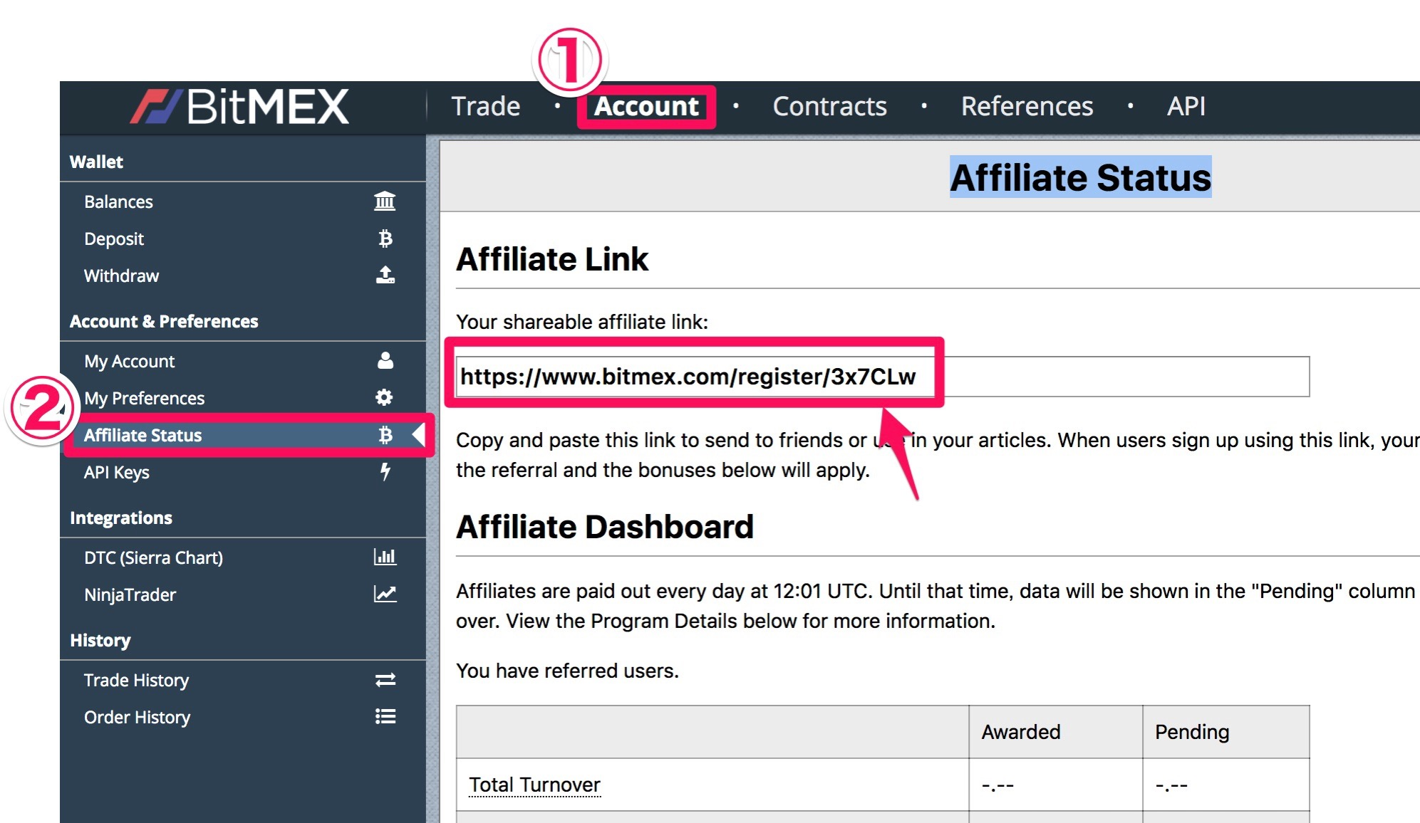 Affiliate Status BitMEX